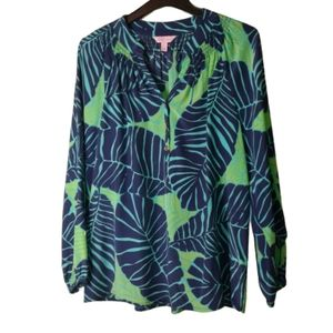 RARE Lilly Pulitzer Under The Palms Elsa Top Med